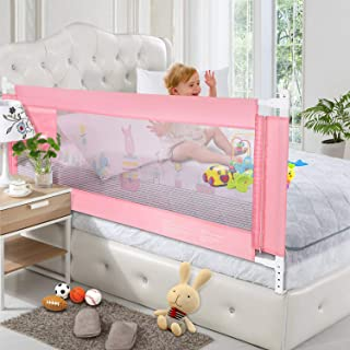 [Upgraded]Odoland 56in Bed Rail, Swing Down Safety Bed Rails Hide Away(HA), Assist Extra Long BedRails, Mesh Guard Rails Liftable Crib(1 Pack)