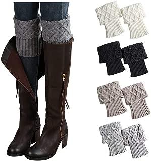 4 Pairs Women Winter Crochet Knitted Short Boot Cuffs Socks Short Leg Warmers