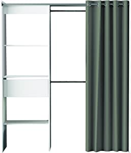Demeyere 198454 Wardrobe with Anthracite 66 x 187 x Adjustable Width 50 cm, White