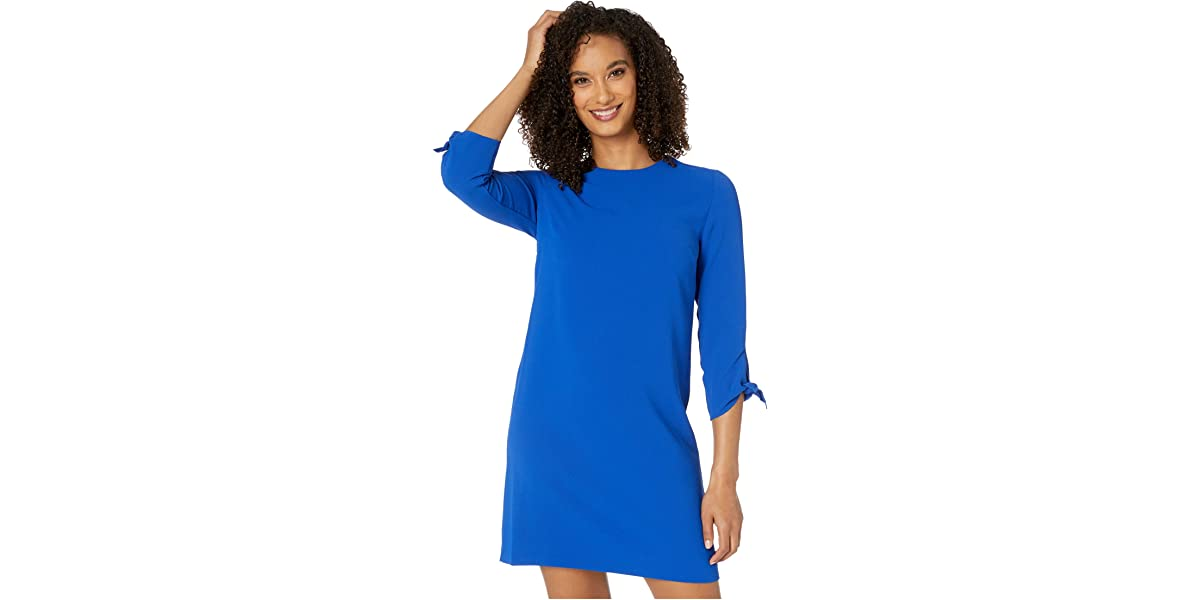 CeCe 34 Tie Sleeve Moss Crepe Shift Dress | The Style Room