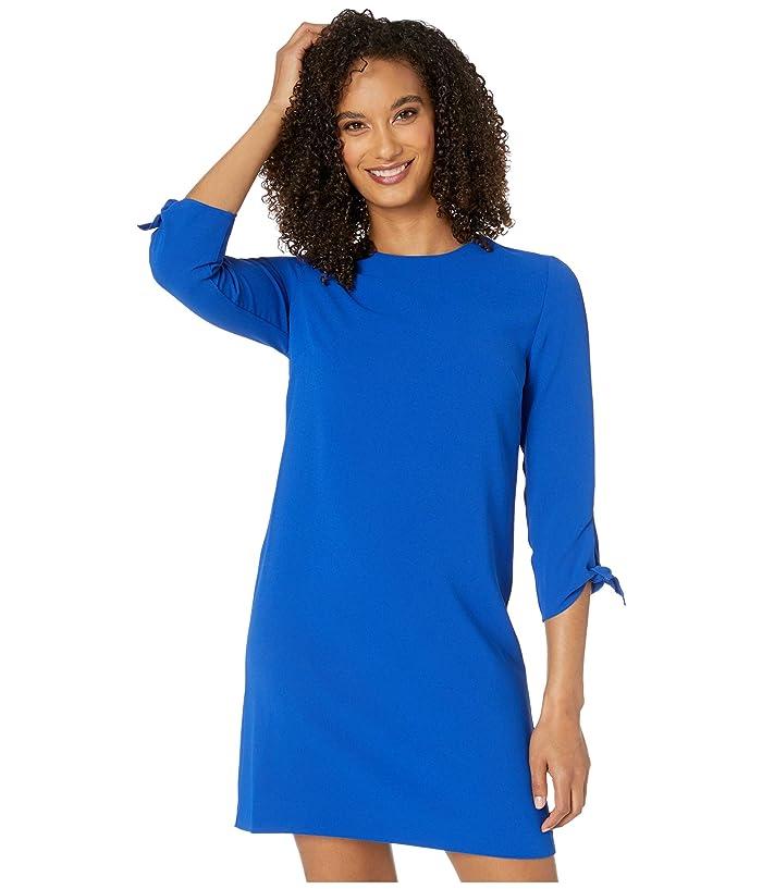 CeCe  3/4 Tie Sleeve Moss Crepe Shift Dress (Deep Royal Blue) Womens Dress
