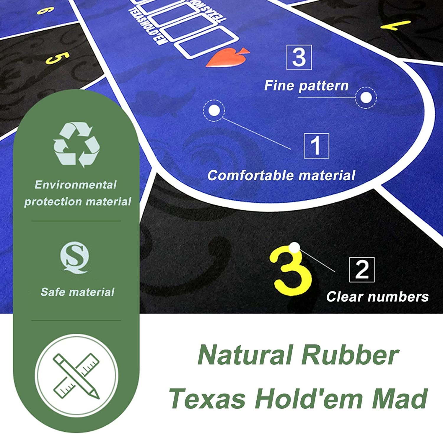 Blackjack Professional Texas Holdem Poker Mat Casino,Blue,S 10 Player Poker Table Pad,Portable Poker Table Top Layout for Play Cards Poker Games