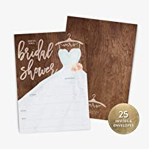25 Bridal Shower Invitation with Envelopes, Modern Calligraphy and Rustic Wedding Dress Bridal Shower Invitation, Fill-in Style Invitation