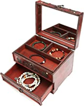 LUCKYFINE Retro Antique Flower Carved Wooden Jewelry Storage Box Container Case Jewelry Display Organizer with Lock Gift