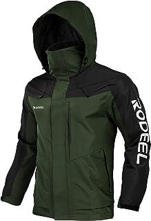 Rodeel Men's Waterproof Jacket with Foldaway Hood Reflective Logo, Windproof Coat for Outdoor Mountain Hunting Fishing