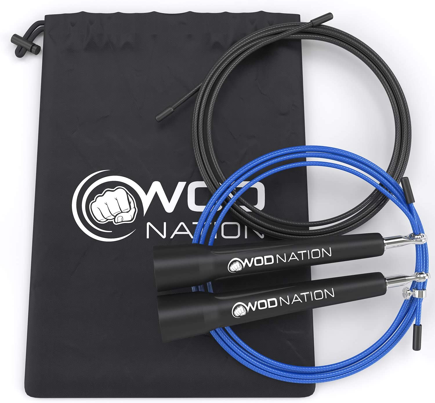 WOD Nation Speed Jump Rope - Blazing Fast Jumping Ropes - Endurance Workout for Boxing, MMA, Martial Arts or Just Staying Fit - Adjustable for Men, Women and Children : Sports & Outdoors