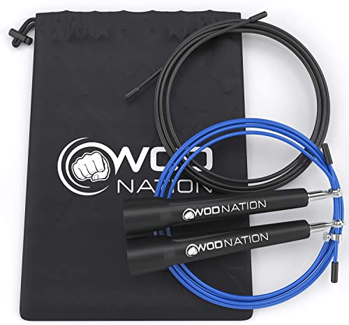 popular WOD Nation Speed Jump Rope - high quality Blazing Fast Jumping Ropes 2021 - Endurance Workout for Boxing, MMA, Martial Arts or Just Staying Fit - Adjustable for Men, Women and Children sale