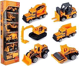 JellyDog Inertia Toy Early Engineering Vehicles Friction Powered Kids Dumper, Bulldozers, Forklift, Tank Truck, Asphalt Ca...