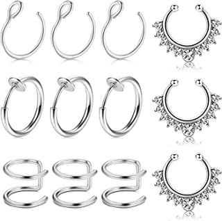 MODRSA Fake Nose Ring Hoop, 12pcs Rose Gold Faux Fake Lip Ear Nose Septum Ring Non-Pierced Clip On Nose Ear Rings
