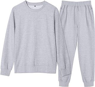 ゆったり スウェット 上下 セット 綿100% トレーナー Hotvivid 男女兼用 メンズ レディース 部屋着 ルームウェア パジャマ セットアップ 無地 長袖