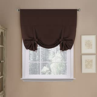 H.VERSAILTEX Blackout Energy Saving Thermal Insulated Tie-up Curtain for Small Window, Chocolate Brown Shade, 42x63-Inch,Rod Pocket Panel for Kitchen