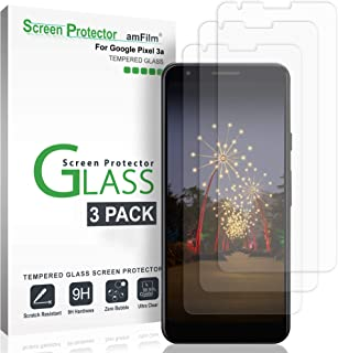 Google Pixel 3a Screen Protector Glass (3 Pack), amFilm Case Friendly Tempered Glass Screen Protector Film for Google Pixel 3a (2019)