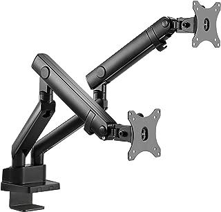 Siig Soporte de Brazo mecánico de Aluminio para Monitor Dual – Altura Ajustable para Pantallas de 17 a 32 Pulgadas – 17.6 Libras Cada Brazo – VESA 75 x 75 mm 100 x 100 mm, Negro