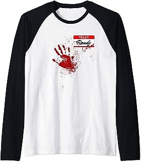 Mens Hello My Name Is Randy - Blood Hand - Scary Halloween Raglan Baseball Tee