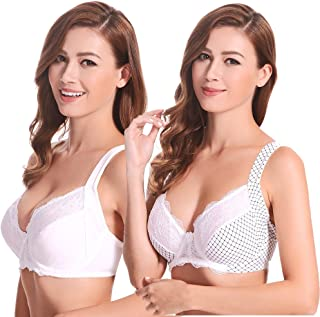 Plus Size Unlined Underwire Lace Bra with Padded Shoulder Straps-2PK