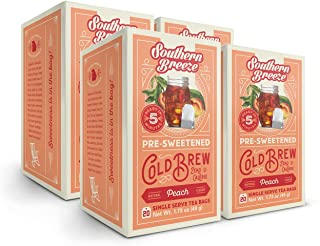 Southern Breeze Cold Brew, Peach Sweet Tea with Zero Calorie, 20 Count (Pack of 4)