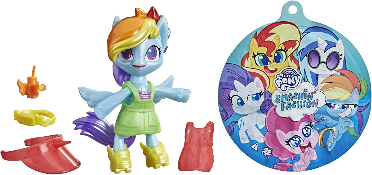 My Little Pony Smashin' Fashion Rainbow Dash Set -- 3-Inch Poseable Figure with Fashion Accessories and Surprise Toy Unboxing, 9 Pieces