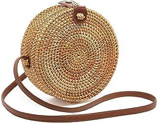 Round Rattan Bags Women Round Handwoven Straw Bag Leather Crossbody Shoulder Strap Handbag Summer Beach Bag