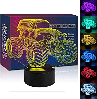HIPIYA Monster Truck 3D Illusion Led Lamp 7 Color Car Night Light Birthday Gift Christmas Present for Boy Boyfriend Men Kid Sports Fan Home Office Lighting Toys Decoration Room Bedroom Decor (Monster)