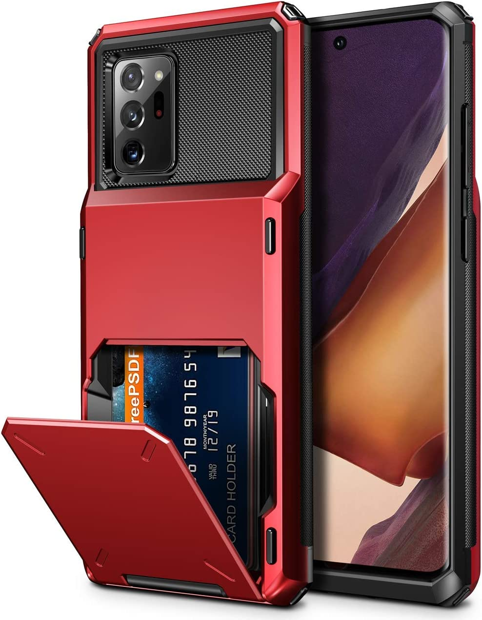 Vofolen for Galaxy Note 20 Ultra Case 5G Wallet 4-Card Flip Cover Credit Card Holder Slot Back Pocket Dual Layer Protective Hybrid Hard Shell Bumper Armor Case for Samsung Note 20 Ultra 6.9 Red