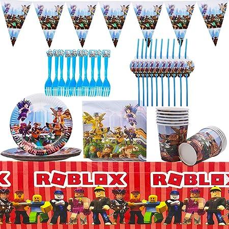 ZSWQ Roblox Forniture per Feste a Tema Set di stoviglie Tovaglioli Sacchetti Regalo Banner di Compleanno e Palloncini Decorazioni Gaming Party Tableware Game Day Party