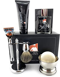 GBS New 7pc Fusion Chrome Shaving Set For Men - 5 Blade Chrome Razor, Gillette5 Blade Compatible- Badger Brush, Stainless Bowl w/Soap,Stand, Lavender Aftershave, and No. 84 Gentlemen's Cologne