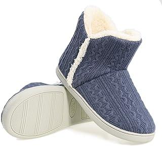 AONEGOLD Pantofole Donna Invernali Ciabatte Uomo Ragazze Maglia Tessuto Pantofola Calde Peluche Stivaletto Scarpe da Inter...