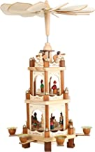 Christmas Wooden Pyramid with Hand Painted Nativity Figurines with Turning Wings with 6 Candleholders