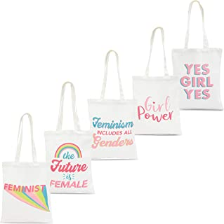 Sparkle and Bash Feminist 100% Cotton Canvas Tote Bags (5 Pack) 5 Designs, Medium