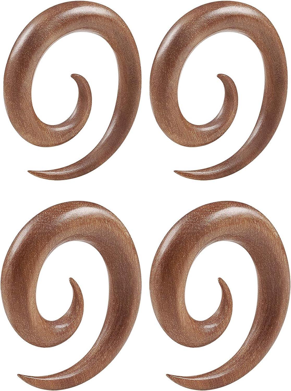 BIG GAUGES Pair of Sawo mart Woods 5 ☆ popular Spiral Jewelry Coil Taper Piercing