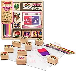 Melissa & Doug Friendship: Wooden Stamp Set & 1 Scratch Art Mini-Pad Bundle (01632)