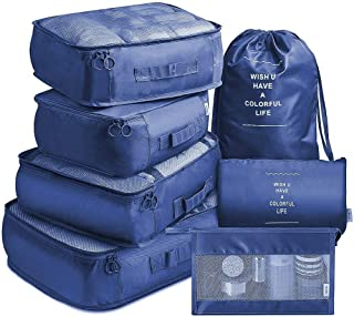 7 Pcs Packing Cubes Organizer for Luggage | Travel Luggage Organizers with Laundry Bag & Toiletry Bag | Compression Packin...