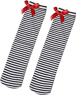 1 par de calcetines altos para niñas Medias de rayas a la rodilla con lazo precioso Encaje Medias altas hasta la rodilla Muslo Tamaño libre para niños de 1 a 8 años (blanco y negro)