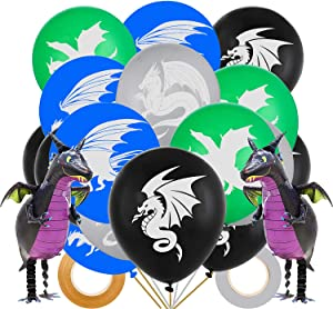 Dragon Theme Party Decoration 42Pcs Dragon Latex Balloons 12 inch Assorted Colors Flying Dinosaur Dragon Balloons with Ribbons for Fantasy Dungeons & Dragon Party Decor Dragon Themed Party Supplies Party Favors for Boys