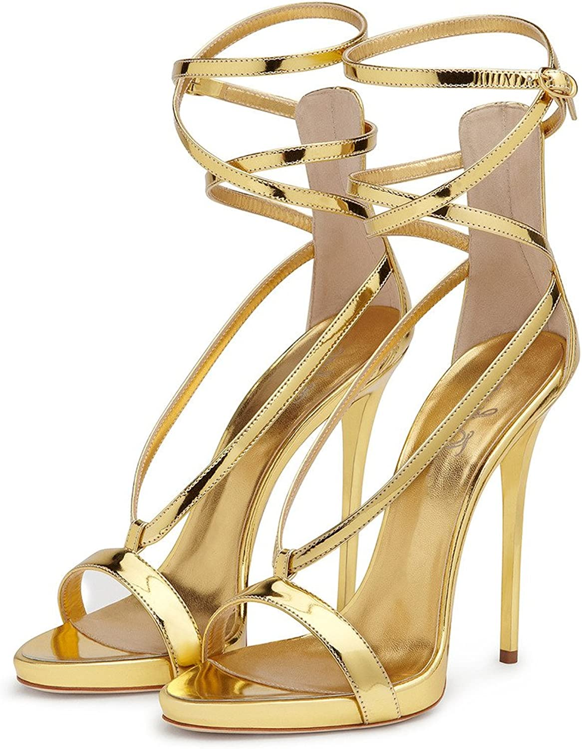 Amy Q Summer Open Toe Ankle Strap Buckle High Heel Gladiator Sandals Women for Party Dress shoes