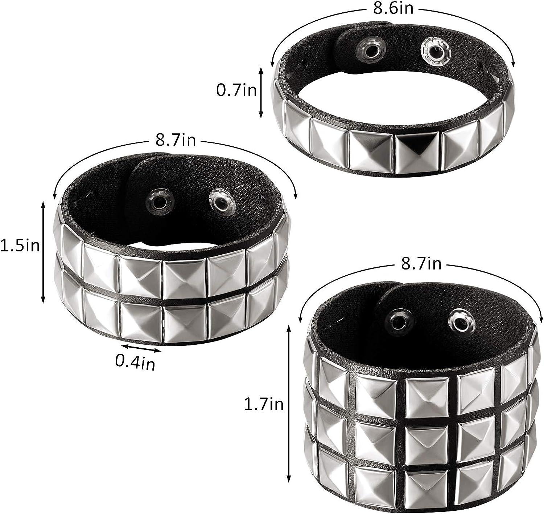 3 Pieces Leather Studded Punk Bracelet studded armband for men Punk Rivet Bracelet Spike Rivet Cuff Bangle Unisex Metal Studded Wristband for Halloween Party Favors
