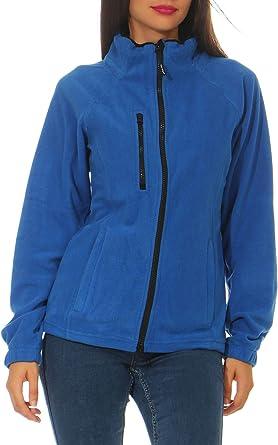 Happy Clothing Chaqueta de forro polar para mujer, para exterior, sin capucha, con cuello, color azul oscuro, negro, tallas S, M, L