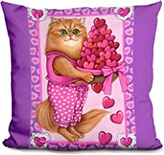 LiLiPi Persian Cat Bowl Of Hearts Decorative Accent Throw Pillow