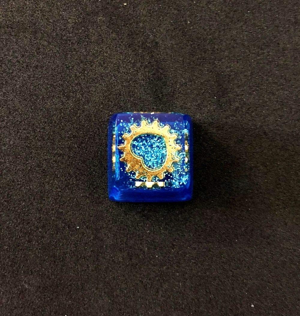 Resin Keycap Handmade Thick Keycaps The Heart of The Ocean Blue /& Yellow Backlit Key Cap for Cherry MX Mechanical Keyboard AEmber Blue