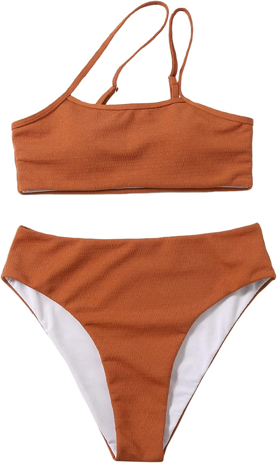 SOLY HUX Women's One Shoulder High Waisted Bikini Bathing Suits Two Piece Swimsuits