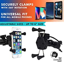 AllExtreme EXHSMH1 Universal X-Grip Spider Mobile Holder Adjustable Cell Phone Holder Stand with 360 Degree Rotations and USB Charging Port for Bike Rear View Mirror Cradle (Black)
