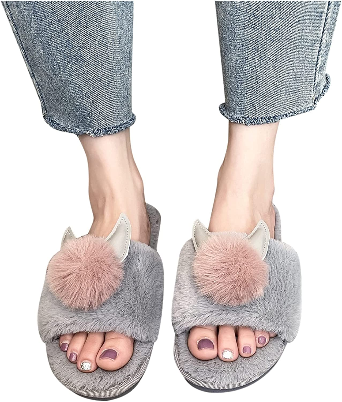 Luxury goods Hunauoo Slippers for Women Choice Slip-On Furry Home Slip Flat