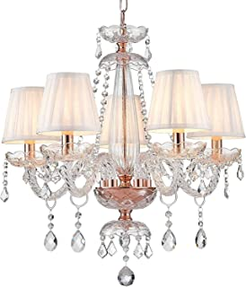 Saint Mossi Modern Crystal Glass Chandelier Lighting Ceiling Chandelier Lamp 5 Arms with E14 Base Rose Gold Finish Fabric ...
