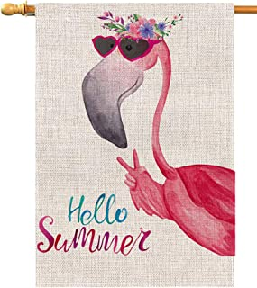 Hello Summer Flamingo Large House Flag Vertical Double Sided 28 x 40 Inch Floral Burlap Yard Outdoor Decor