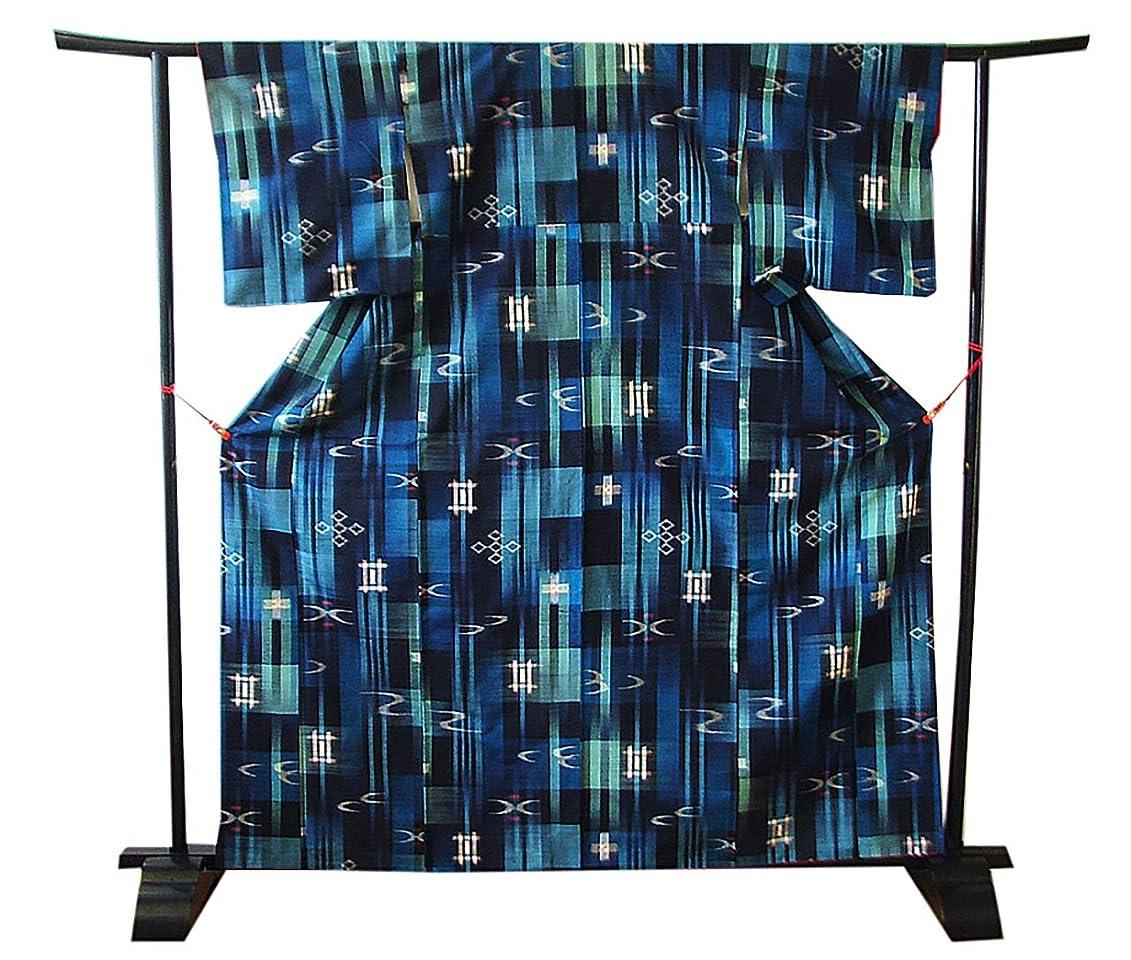 バンカー浴室ドライバ博多着物市場 きものしらゆり 身丈157cm 裄64cm ブルー系 紬 袋帯 帯揚げ 帯〆 正絹 セット 身長150cm~156cmの方に最適