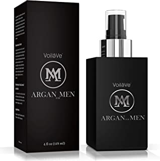 VoilaVe Argan Man Skin, Hair, Beard, and Body Oil for Men – USDA Certified Organic Argan Oil Plus Sandalwood for Natural Anti-Graying – Masculine Scent – Easy Pump Bottle – 4 fl oz.