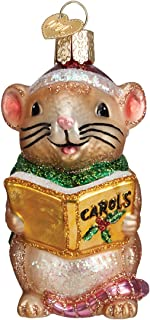 Old World Christmas Glass Blown Ornament with S-Hook and Gift Box, More Animals Collection (Caroling Mouse [Brown])