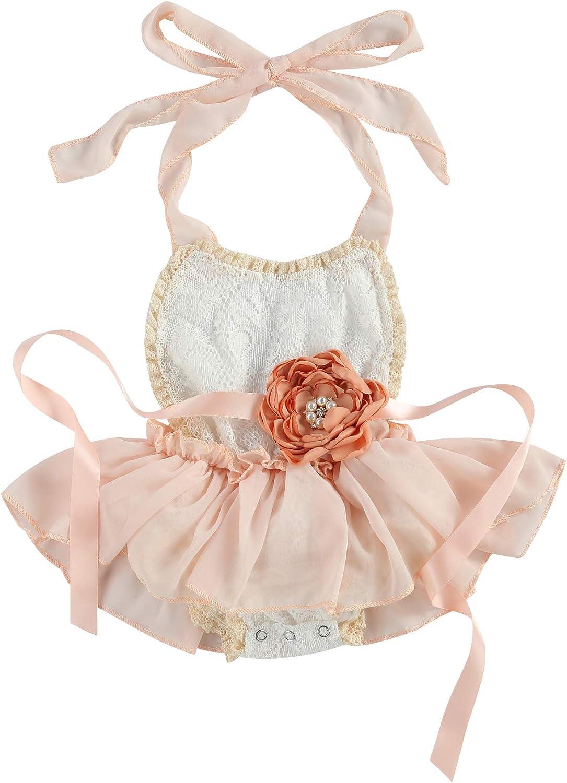 Our shop OFFers the best service Baby Girls Summer Romper Dress Halter Bo Blush Japan's largest assortment Backless Bodysuit