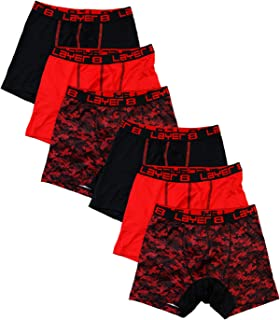 Layer 8 Mens 6-Pack Big Boys Underwear Performance Sports Boxer Briefs Boxer Briefs