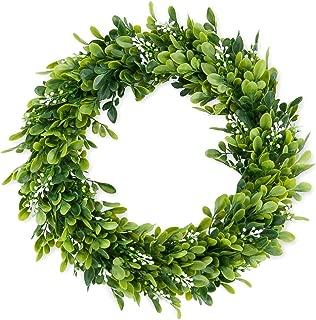 15 inch Boxwood Wreath Round Wreath,Artificial Green Leaf Wreath Door Wreath Green Wreath for Home Door Hanging Wall Window Wedding Decoration